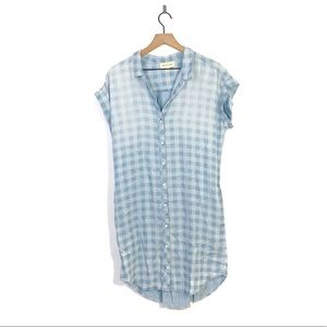 Cloth & Stone Chambray Gingham Shirt Dress Medium